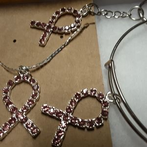 Pink ribbon necklace, bracelet and keychain